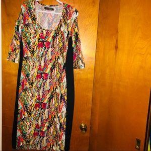 Women coogi stretch cut out shoulders dress 2x